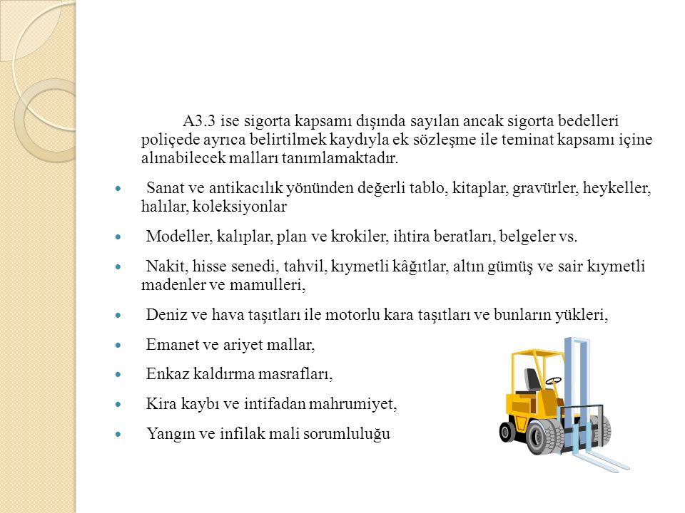 A3.3 ise sigorta kapsamı dışında sayılan ancak sigorta bedelleri poliçede ayrıca belirtilmek kaydıyla ek sözleşme ile teminat kapsamı içine alınabilecek malları tanımlamaktadır.