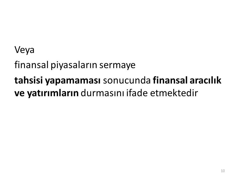 Veya finansal piyasaların sermaye tahsisi yapamaması sonucunda finansal aracılık ve yatırımların durmasını ifade etmektedir