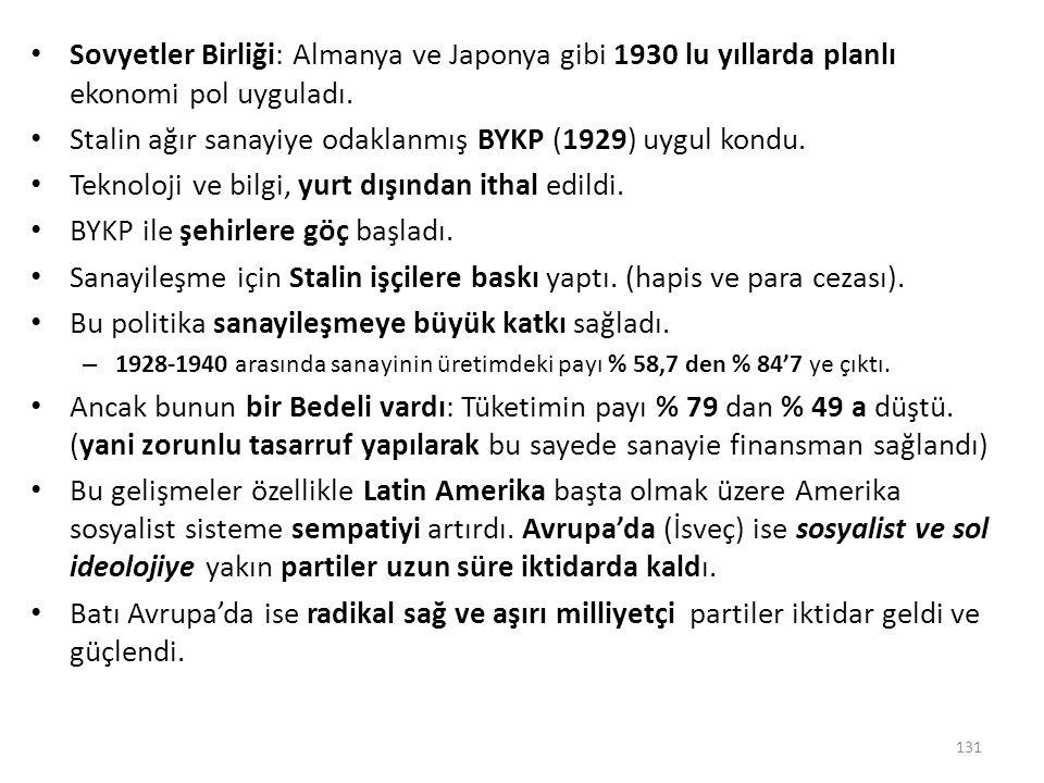 Stalin ağır sanayiye odaklanmış BYKP (1929) uygul kondu.