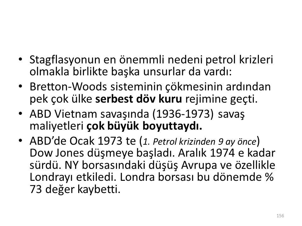 Stagflasyonun en önemmli nedeni petrol krizleri olmakla birlikte başka unsurlar da vardı: