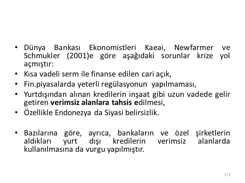 Dünya Bankası Ekonomistleri Kaeai, Newfarmer ve Schmukler (2001)e göre aşağıdaki sorunlar krize yol açmıştır: