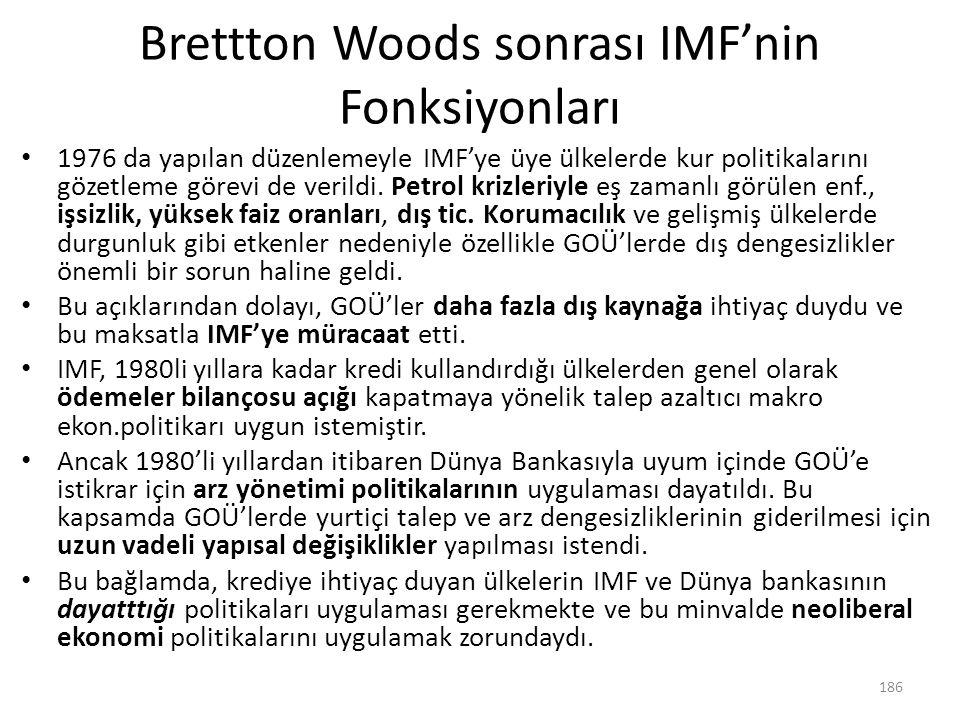 Brettton Woods sonrası IMF'nin Fonksiyonları