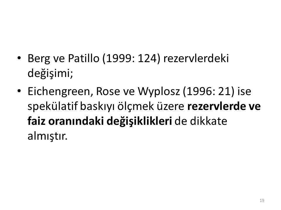 Berg ve Patillo (1999: 124) rezervlerdeki değişimi;