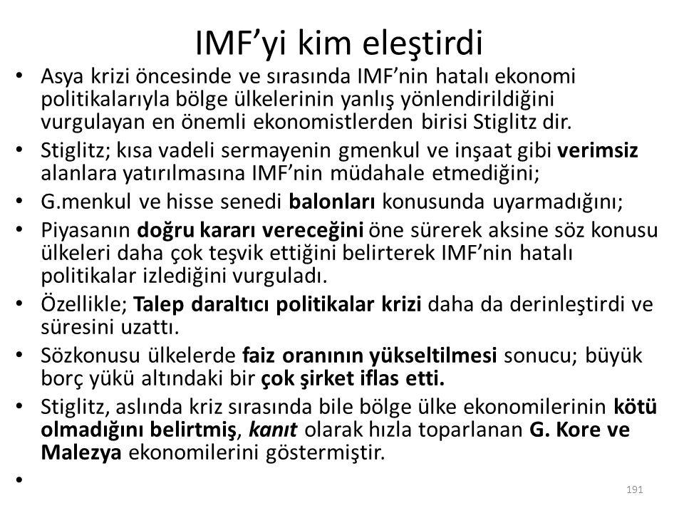 IMF'yi kim eleştirdi