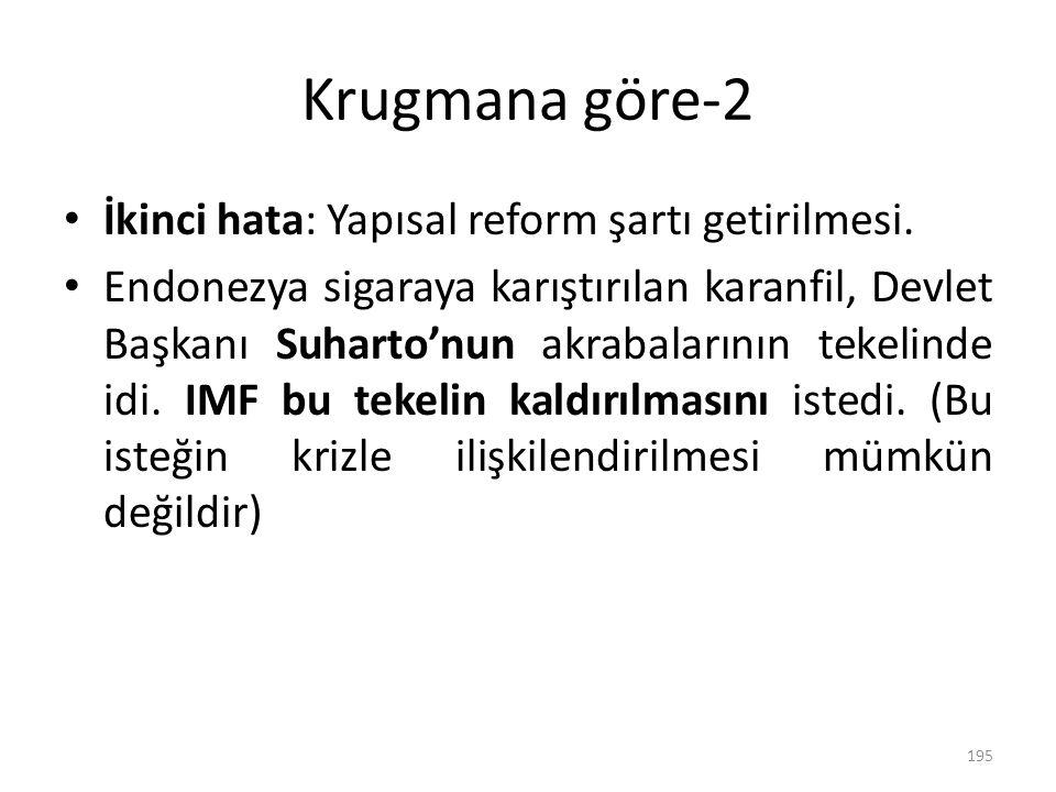 Krugmana göre-2 İkinci hata: Yapısal reform şartı getirilmesi.