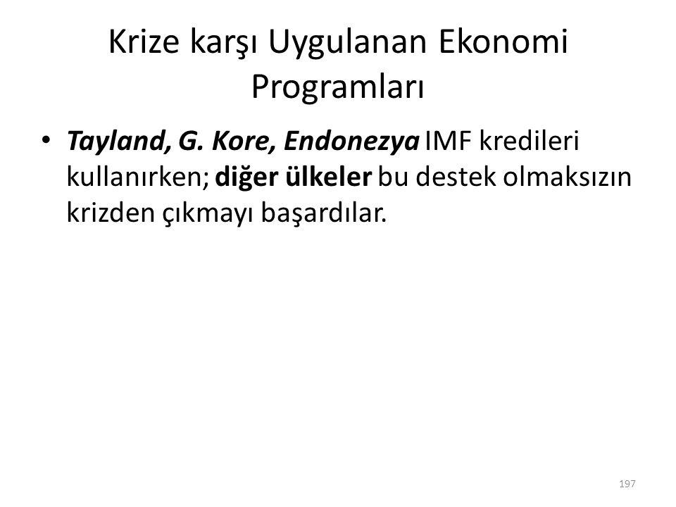 Krize karşı Uygulanan Ekonomi Programları
