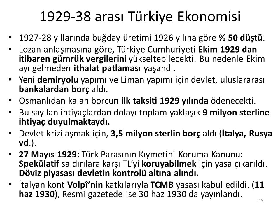 1929-38 arası Türkiye Ekonomisi
