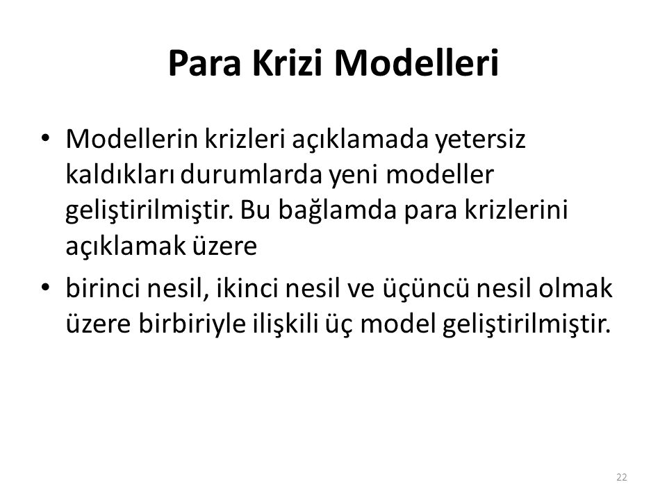 Para Krizi Modelleri