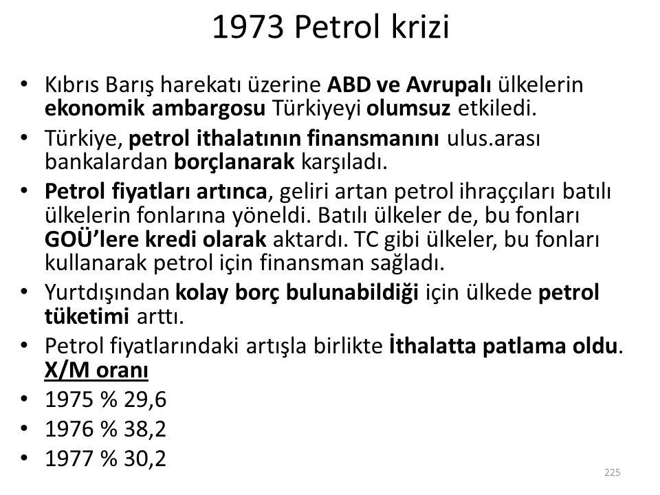 1973 Petrol krizi Kıbrıs Barış harekatı üzerine ABD ve Avrupalı ülkelerin ekonomik ambargosu Türkiyeyi olumsuz etkiledi.