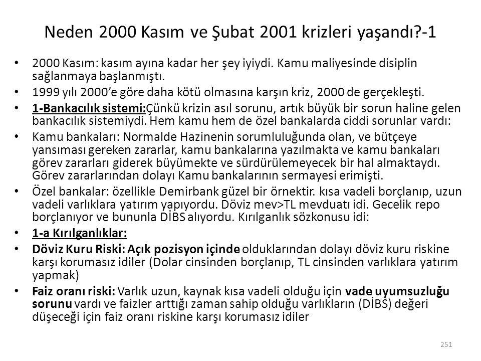 Neden 2000 Kasım ve Şubat 2001 krizleri yaşandı -1