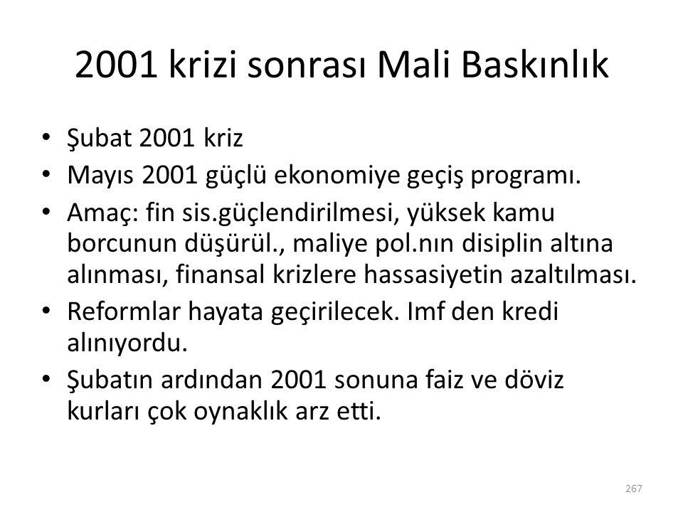 2001 krizi sonrası Mali Baskınlık