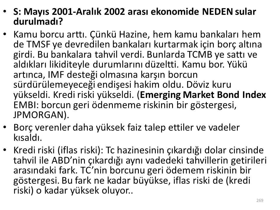 S: Mayıs 2001-Aralık 2002 arası ekonomide NEDEN sular durulmadı