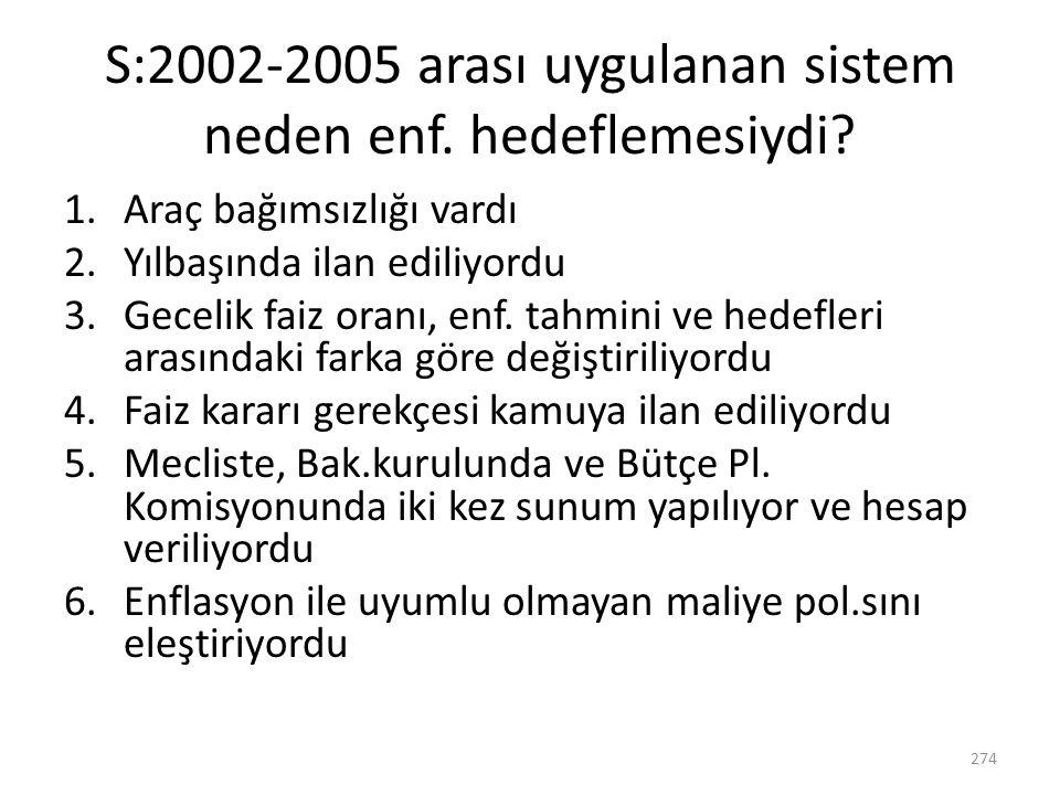 S:2002-2005 arası uygulanan sistem neden enf. hedeflemesiydi