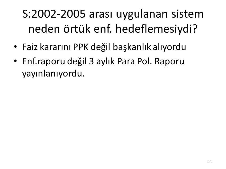 S:2002-2005 arası uygulanan sistem neden örtük enf. hedeflemesiydi