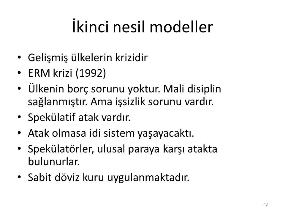 İkinci nesil modeller Gelişmiş ülkelerin krizidir ERM krizi (1992)