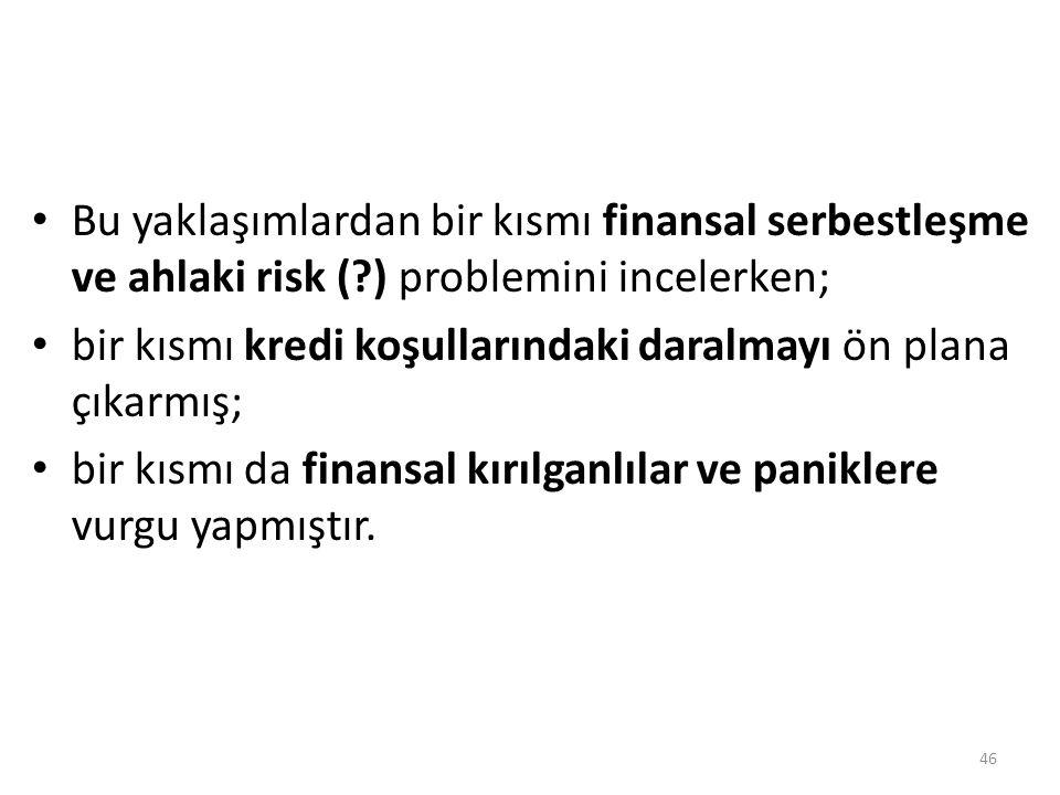 Bu yaklaşımlardan bir kısmı finansal serbestleşme ve ahlaki risk (