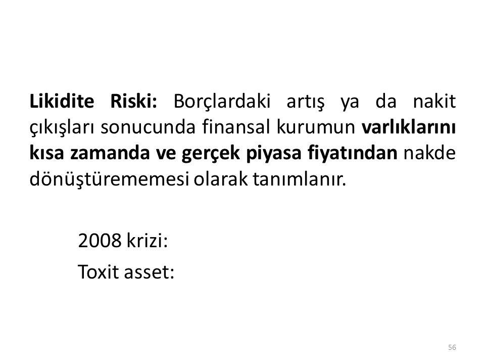 Likidite Riski: Borçlardaki artış ya da nakit çıkışları sonucunda finansal kurumun varlıklarını kısa zamanda ve gerçek piyasa fiyatından nakde dönüştürememesi olarak tanımlanır.