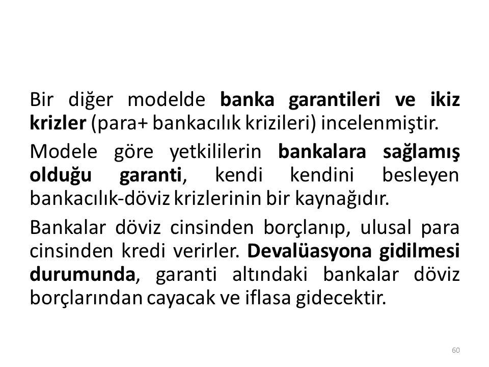 Bir diğer modelde banka garantileri ve ikiz krizler (para+ bankacılık krizileri) incelenmiştir.