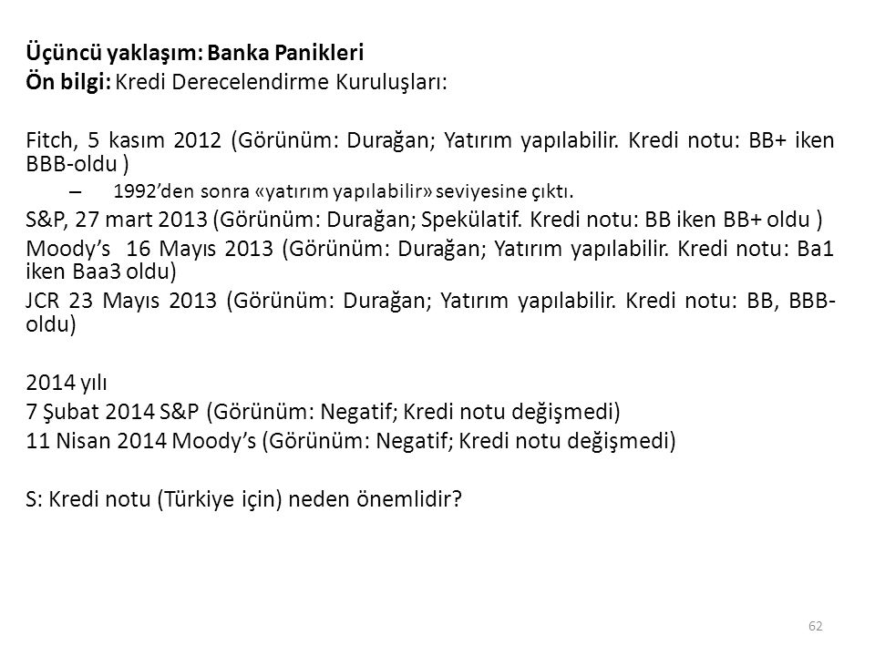 Üçüncü yaklaşım: Banka Panikleri