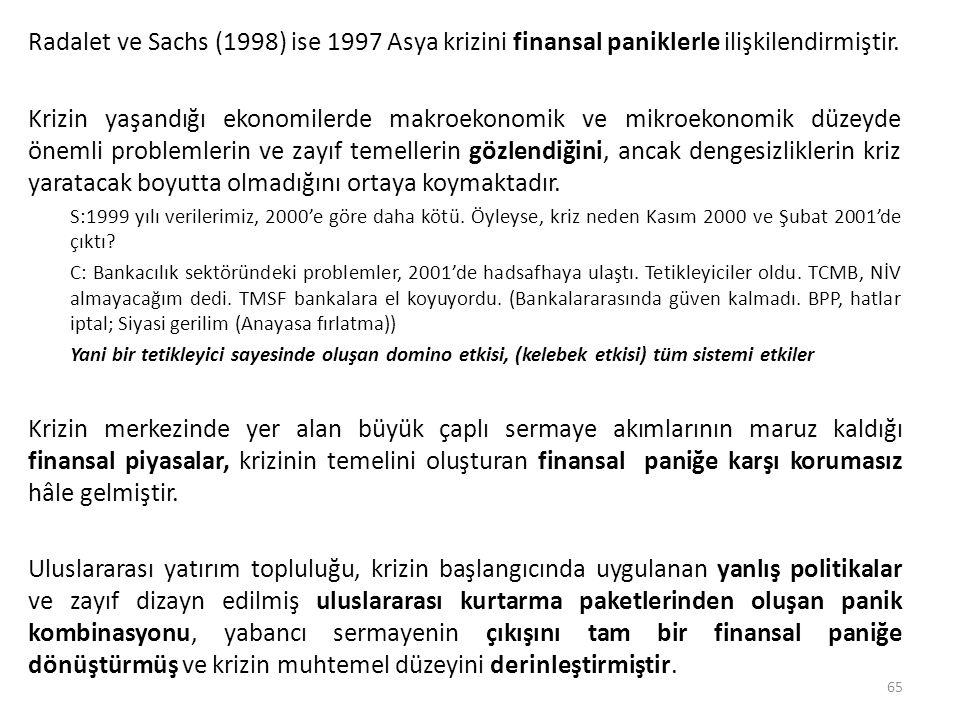 Radalet ve Sachs (1998) ise 1997 Asya krizini finansal paniklerle ilişkilendirmiştir.