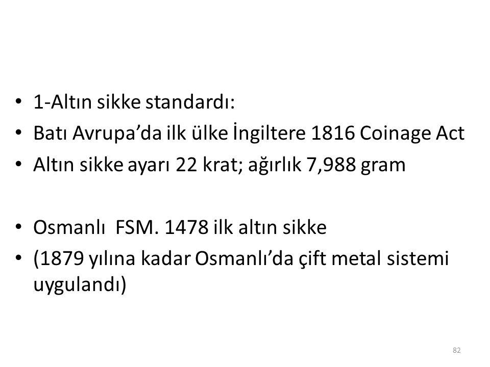 1-Altın sikke standardı: