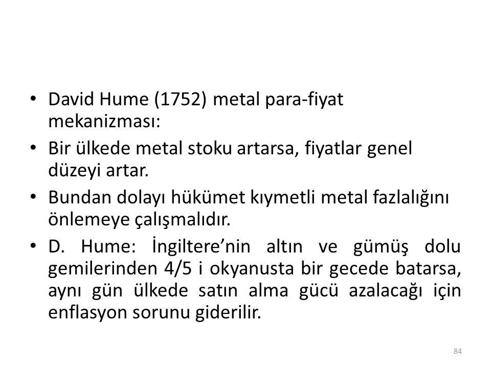 David Hume (1752) metal para-fiyat mekanizması: