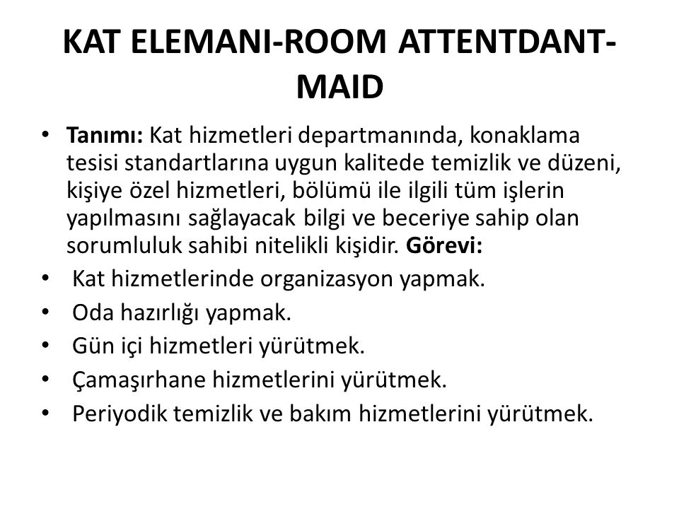 KAT ELEMANI-ROOM ATTENTDANT-MAID