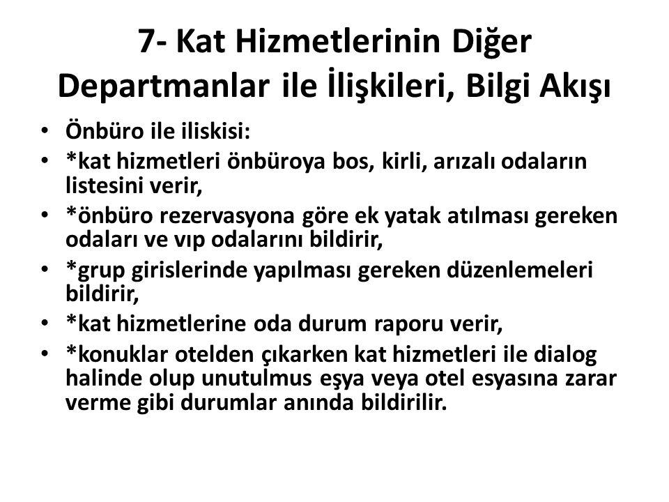 7- Kat Hizmetlerinin Diğer Departmanlar ile İlişkileri, Bilgi Akışı