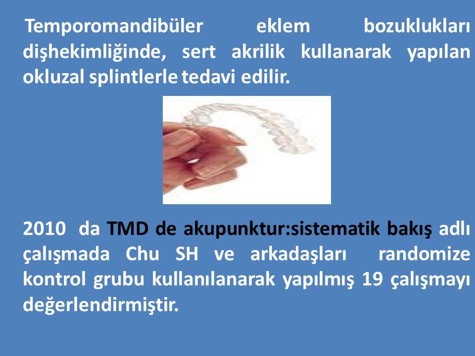 Temporomandibüler eklem bozuklukları dişhekimliğinde, sert akrilik kullanarak yapılan okluzal splintlerle tedavi edilir.