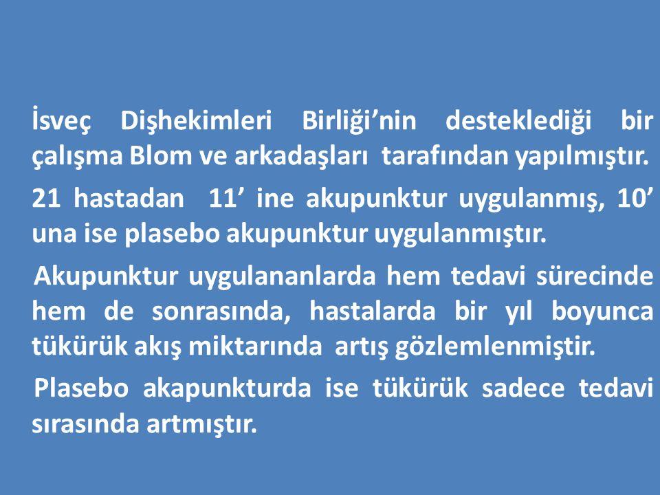 İsveç Dişhekimleri Birliği'nin desteklediği bir çalışma Blom ve arkadaşları tarafından yapılmıştır.