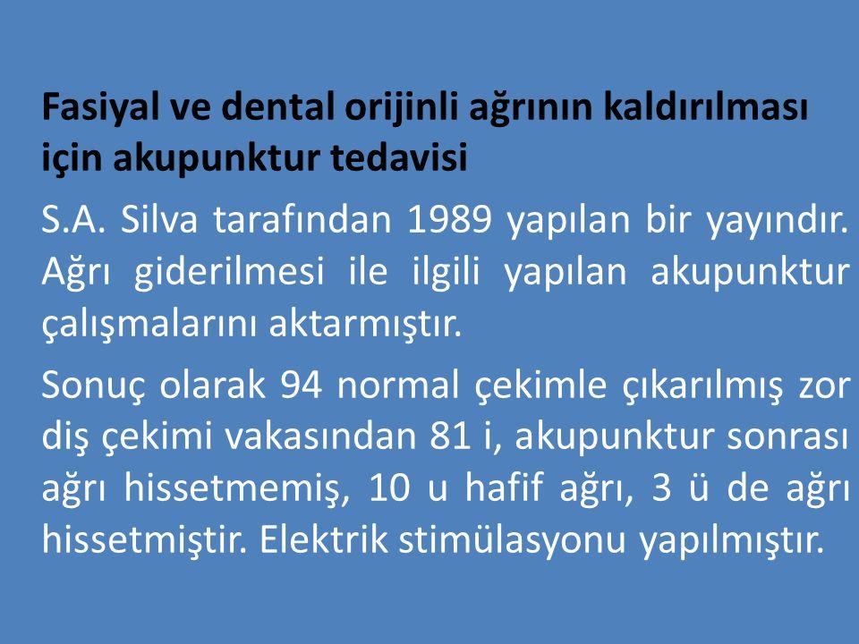 Fasiyal ve dental orijinli ağrının kaldırılması için akupunktur tedavisi