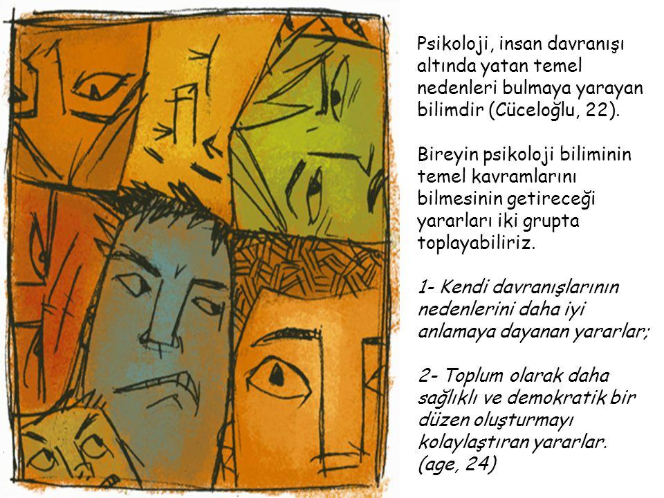 Psikoloji, insan davranışı altında yatan temel nedenleri bulmaya yarayan bilimdir (Cüceloğlu, 22).