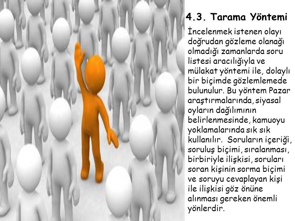 4.3. Tarama Yöntemi