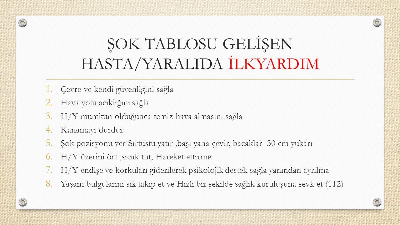 ŞOK TABLOSU GELİŞEN HASTA/YARALIDA İLKYARDIM