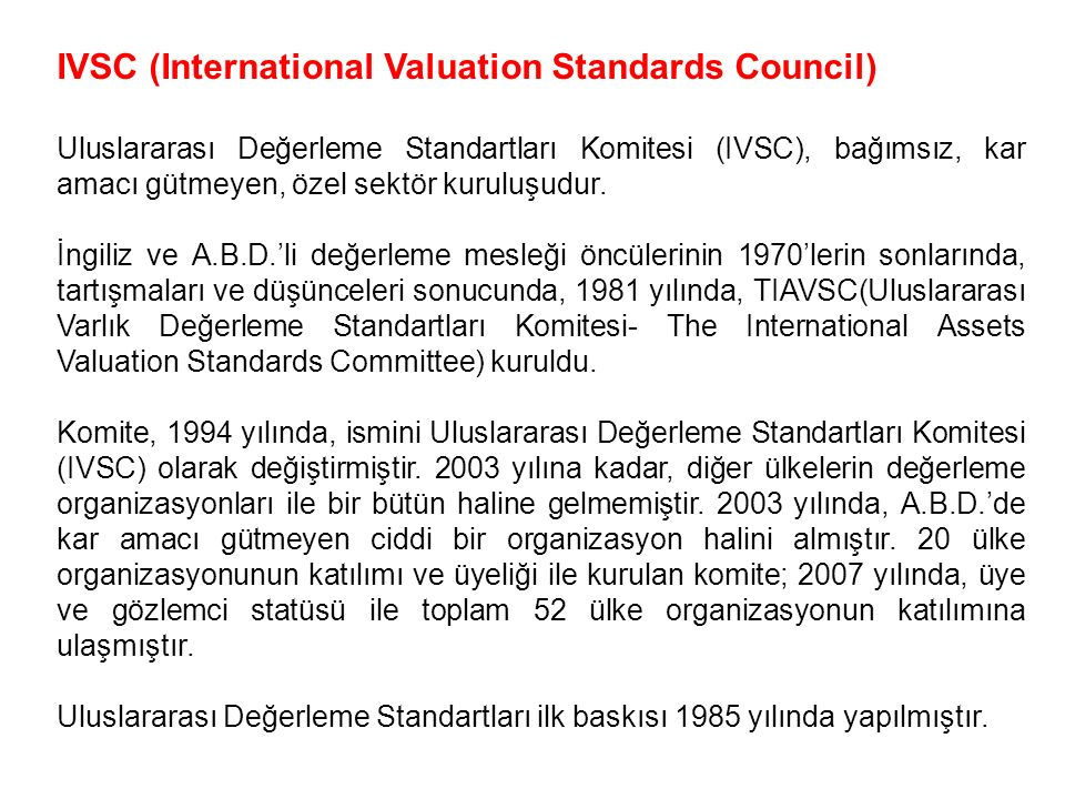 IVSC (International Valuation Standards Council)