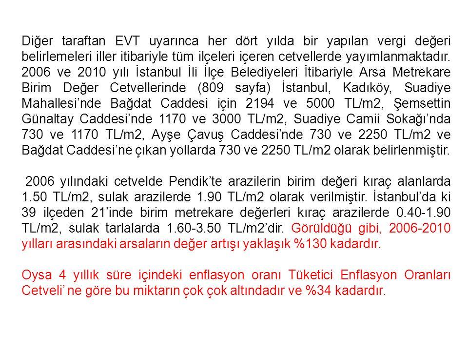 Diğer taraftan EVT uyarınca her dört yılda bir yapılan vergi değeri belirlemeleri iller itibariyle tüm ilçeleri içeren cetvellerde yayımlanmaktadır. 2006 ve 2010 yılı İstanbul İli İlçe Belediyeleri İtibariyle Arsa Metrekare Birim Değer Cetvellerinde (809 sayfa) İstanbul, Kadıköy, Suadiye Mahallesi'nde Bağdat Caddesi için 2194 ve 5000 TL/m2, Şemsettin Günaltay Caddesi'nde 1170 ve 3000 TL/m2, Suadiye Camii Sokağı'nda 730 ve 1170 TL/m2, Ayşe Çavuş Caddesi'nde 730 ve 2250 TL/m2 ve Bağdat Caddesi'ne çıkan yollarda 730 ve 2250 TL/m2 olarak belirlenmiştir.