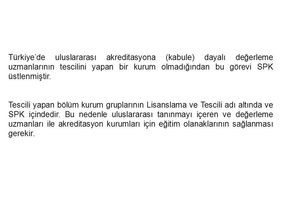 Türkiye'de uluslararası akreditasyona (kabule) dayalı değerleme uzmanlarının tescilini yapan bir kurum olmadığından bu görevi SPK üstlenmiştir.