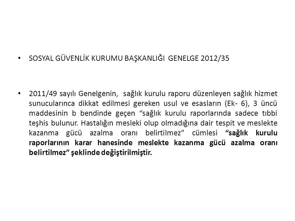 SOSYAL GÜVENLİK KURUMU BAŞKANLIĞI GENELGE 2012/35