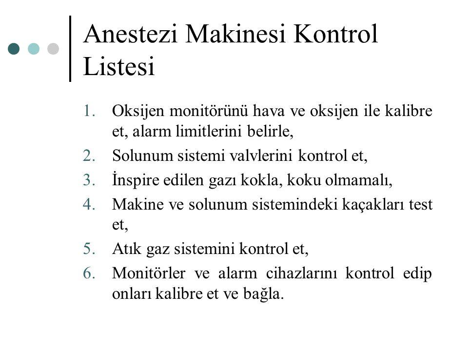 Anestezi Makinesi Kontrol Listesi