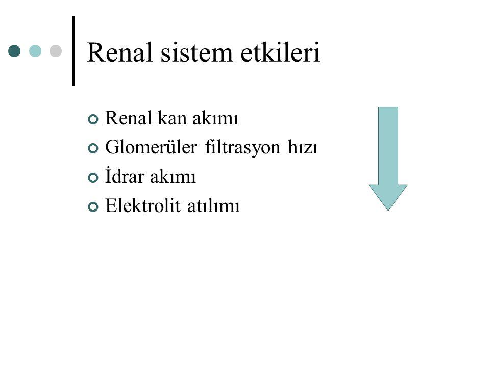Renal sistem etkileri Renal kan akımı Glomerüler filtrasyon hızı