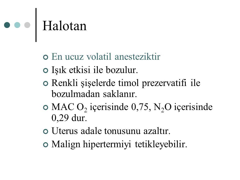 Halotan En ucuz volatil anesteziktir Işık etkisi ile bozulur.