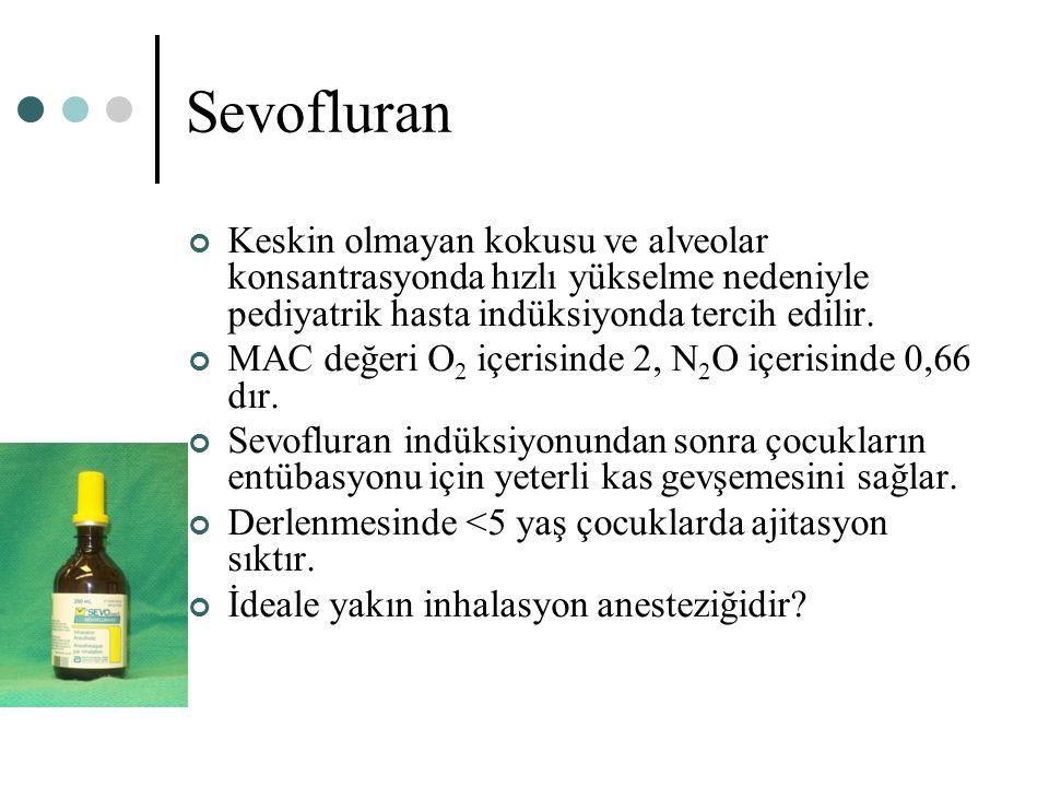 Sevofluran Keskin olmayan kokusu ve alveolar konsantrasyonda hızlı yükselme nedeniyle pediyatrik hasta indüksiyonda tercih edilir.