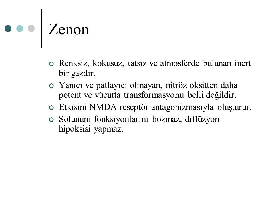 Zenon Renksiz, kokusuz, tatsız ve atmosferde bulunan inert bir gazdır.
