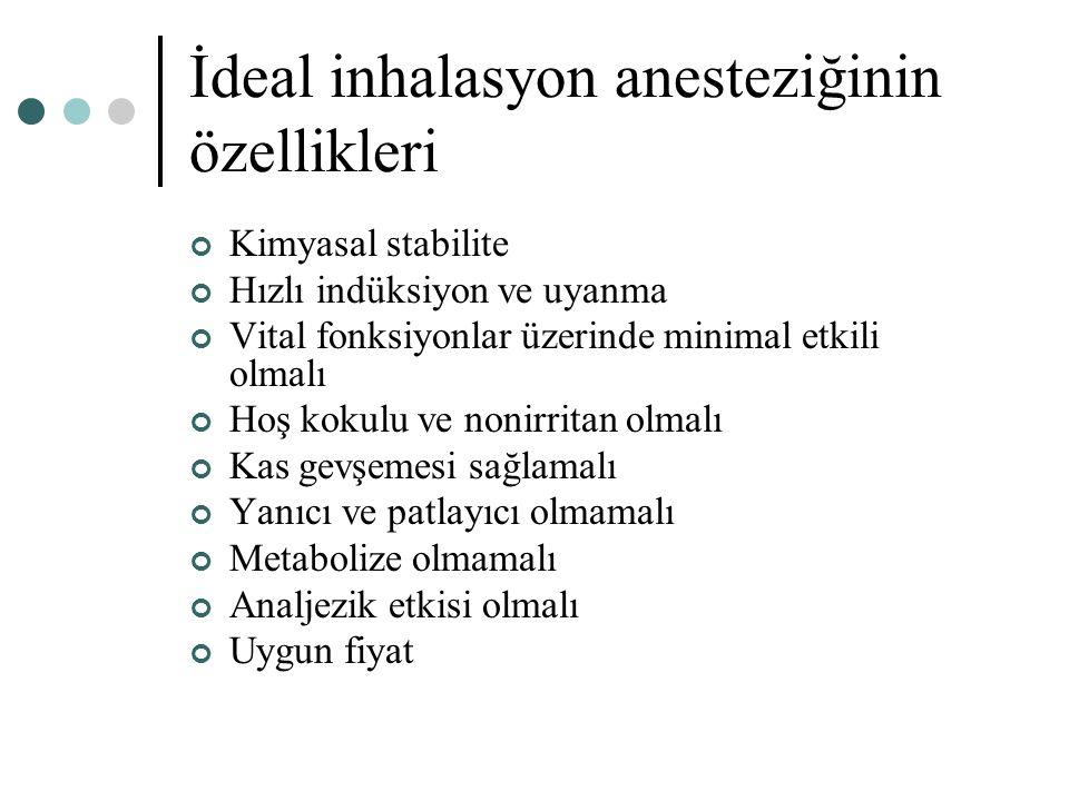 İdeal inhalasyon anesteziğinin özellikleri
