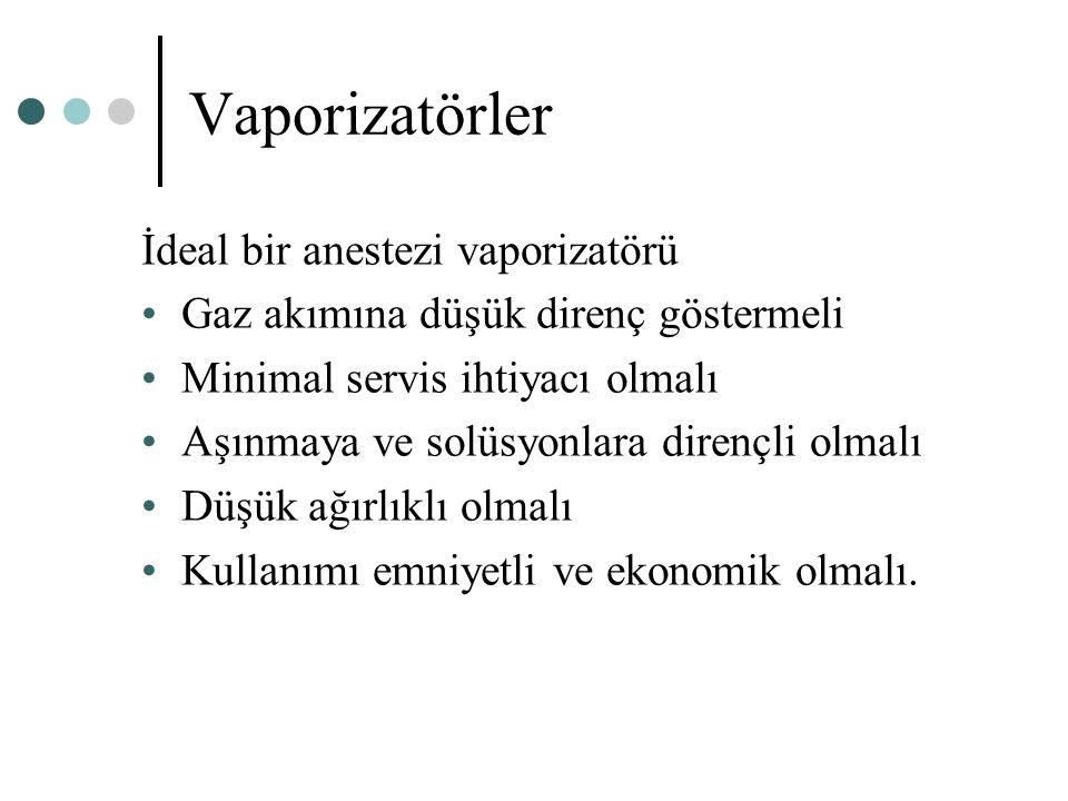 Vaporizatörler İdeal bir anestezi vaporizatörü