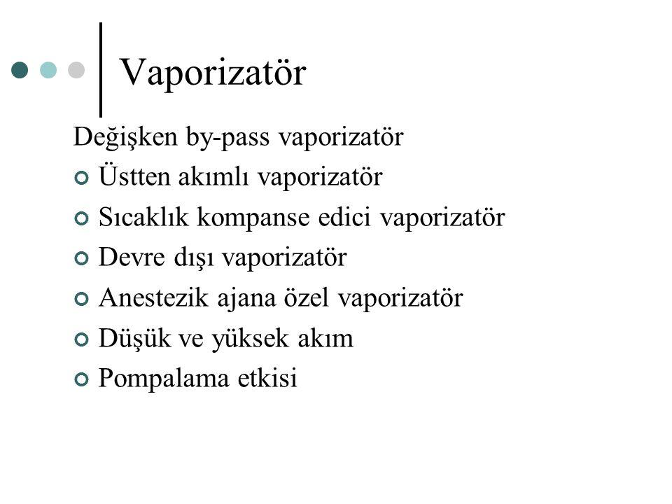 Vaporizatör Değişken by-pass vaporizatör Üstten akımlı vaporizatör
