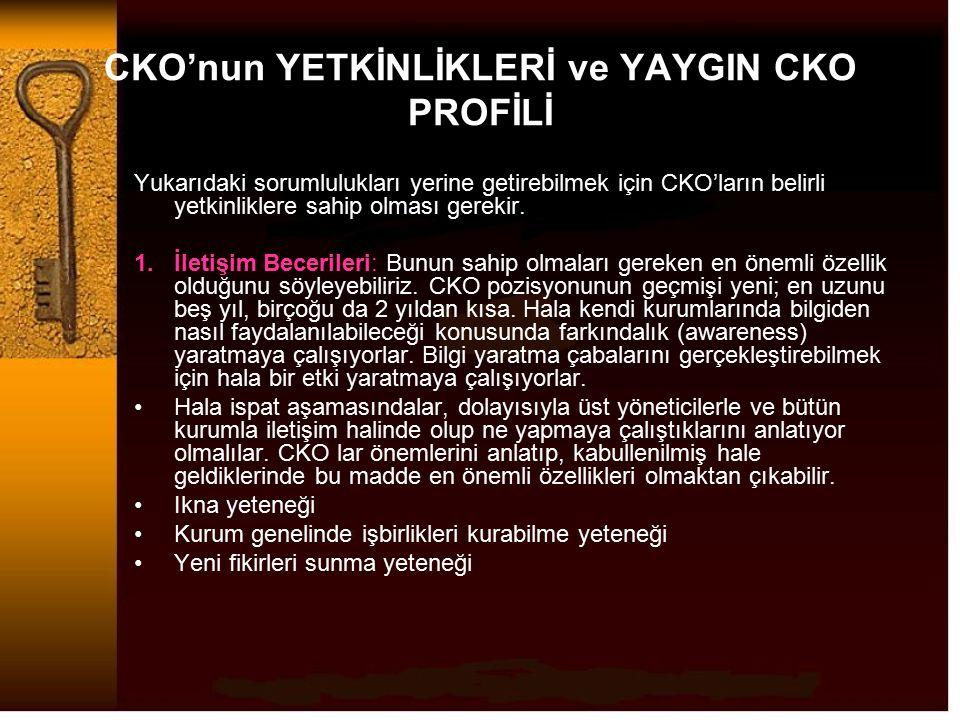 CKO'nun YETKİNLİKLERİ ve YAYGIN CKO PROFİLİ