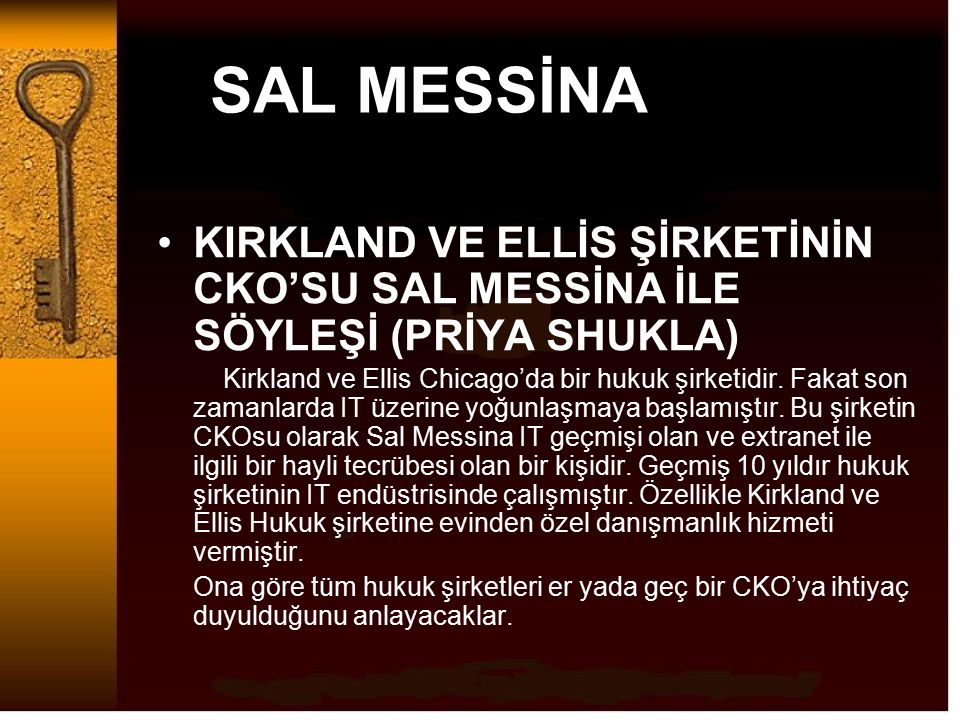 SAL MESSİNA KIRKLAND VE ELLİS ŞİRKETİNİN CKO'SU SAL MESSİNA İLE SÖYLEŞİ (PRİYA SHUKLA)