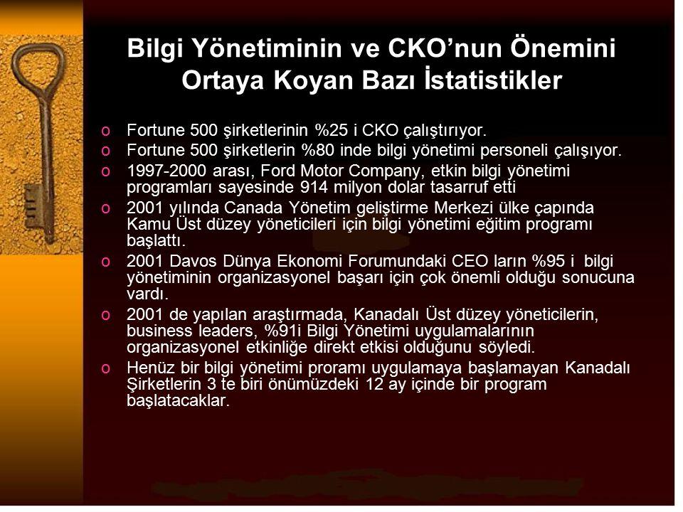 Bilgi Yönetiminin ve CKO'nun Önemini Ortaya Koyan Bazı İstatistikler