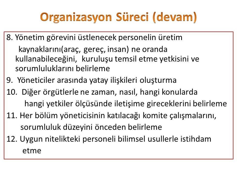 Organizasyon Süreci (devam)